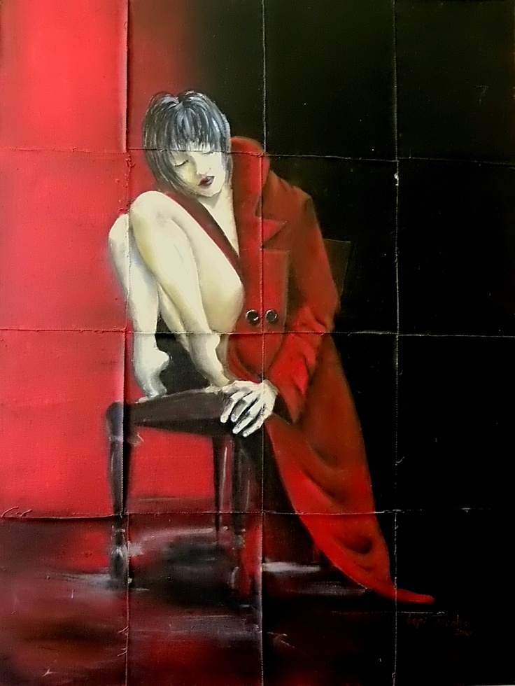 The Girl In The Red Coat. Painted on French woven canvas.