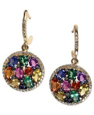 EFFY 14k Gold Multicolor Sapphire and Diamond Earr…