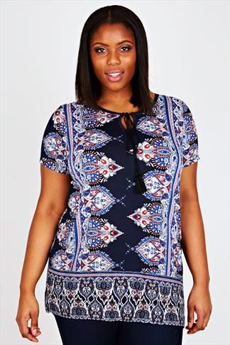 Navy Paisley Print Jersey Top With Tassel Tie Detail