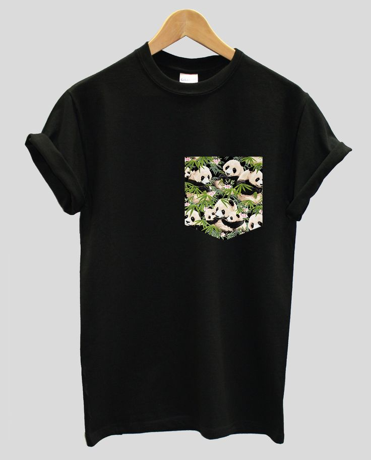 Real Stitched Panda with Bamboo Pattern Print Pocket T-shirt Hipster Indie Swag Dope Hype Black White Mens Womens Cute Pocket Shirt by IIMVCLOTHING on Etsy
