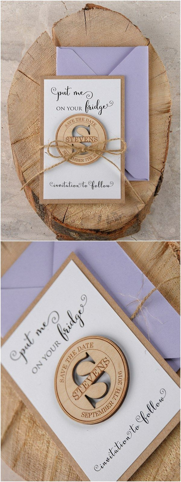 Rustic lavender leaser cut wood save the dates @4LOVEPolkaDots