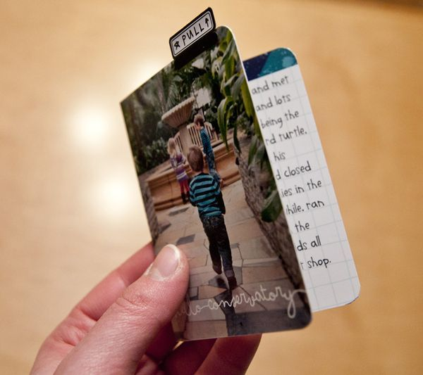 Project Life idea:Put a 3X4 photo on the outside of a large journaling card, add a tab and stick in pocket...photo + lots of journaling!