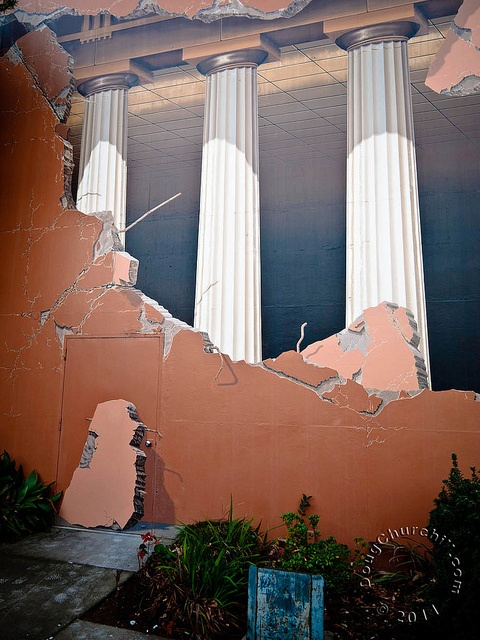 Taylor Hall, California State University, Chico, California.  The Doric-style columns are actually nothing but paint.   ~artist John Pugh~