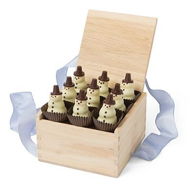 L.A. Burdick's Signature Handcrafted Chocolate Snowmen for Winter Holiday Gifts -
