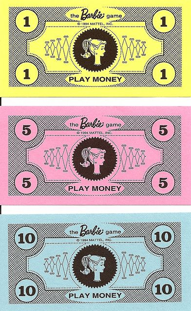 Replica Barbie Game Money... great idea to use as Pure romance money giveaways at Parties.