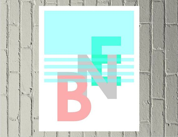 BNE print digital download Brisbane Australia hipster - Pink, grey and turquoise Made by Gia $4.50