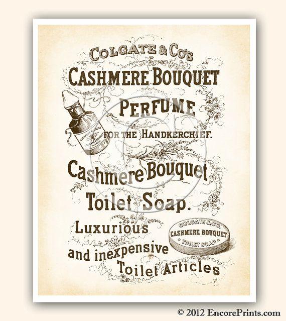 Vintage Bathroom Decor CASHMERE BOUQUET Soap Ad Vintage Art Print Reproduction 8x10 inches ad1