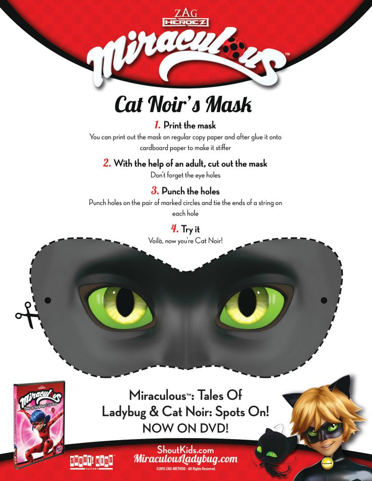 Miraculous Cat Noir Mask Craft Printable Coloring Pages