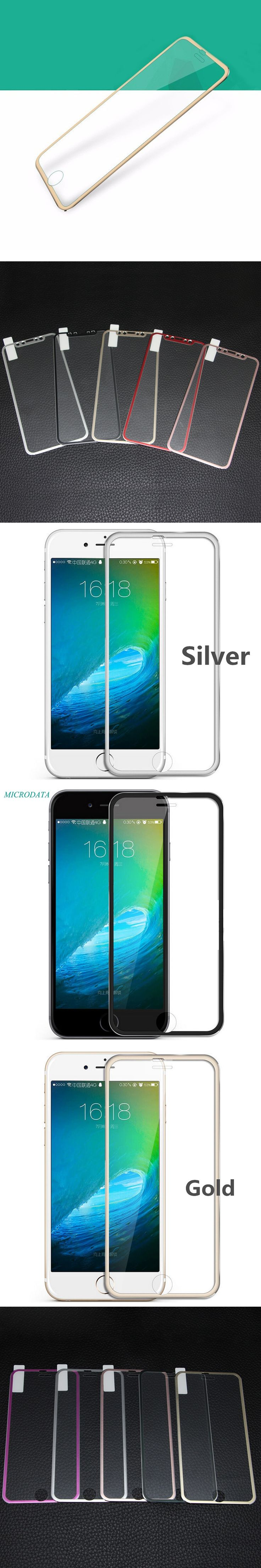 MicroData Titanium Alloy Metal Frame screen protector Tempered Glass Film guard defender border saver For iPhone 7 plus 6 s