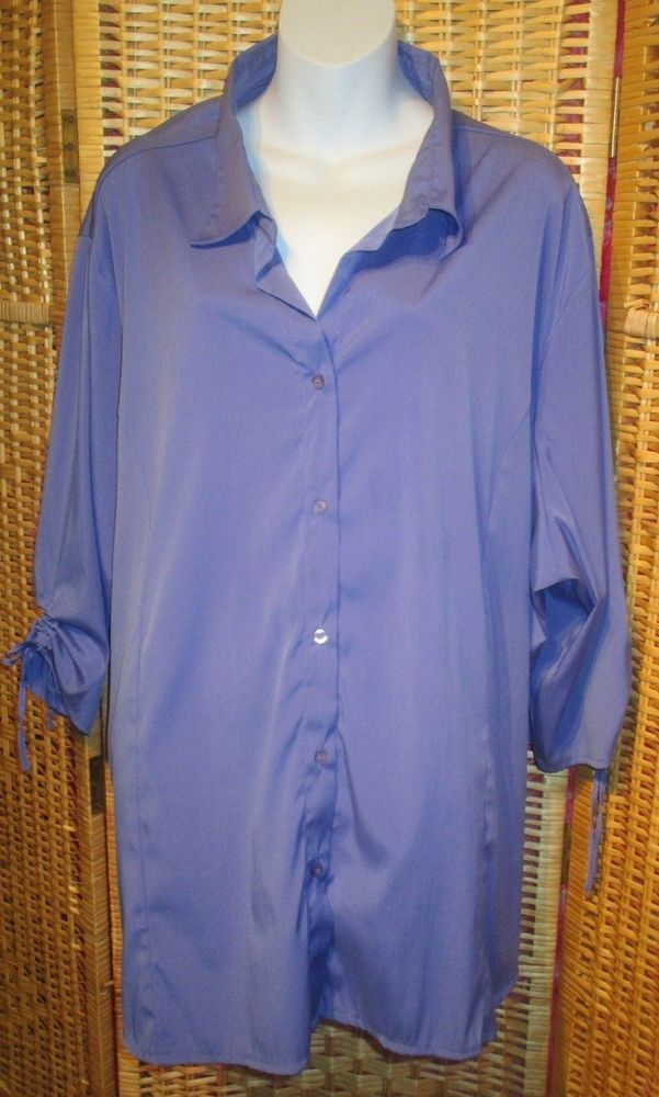 1203b74fb54f54 NorthCrest Womens Blouse Plus Size 4X Blue 3/4 Sleeve Button Front Stretch # Northcrest #Blouse #Career