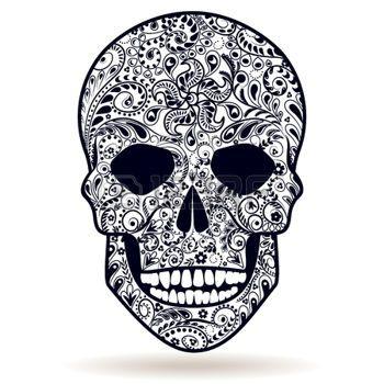 tatouage tete de mort: floral noir et blanc à motifs crâne humain isolé sur blanc.                                                                                                                                                      Plus