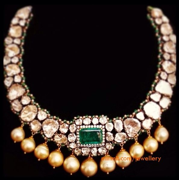 uncut diamond necklace with south sea pearl drops