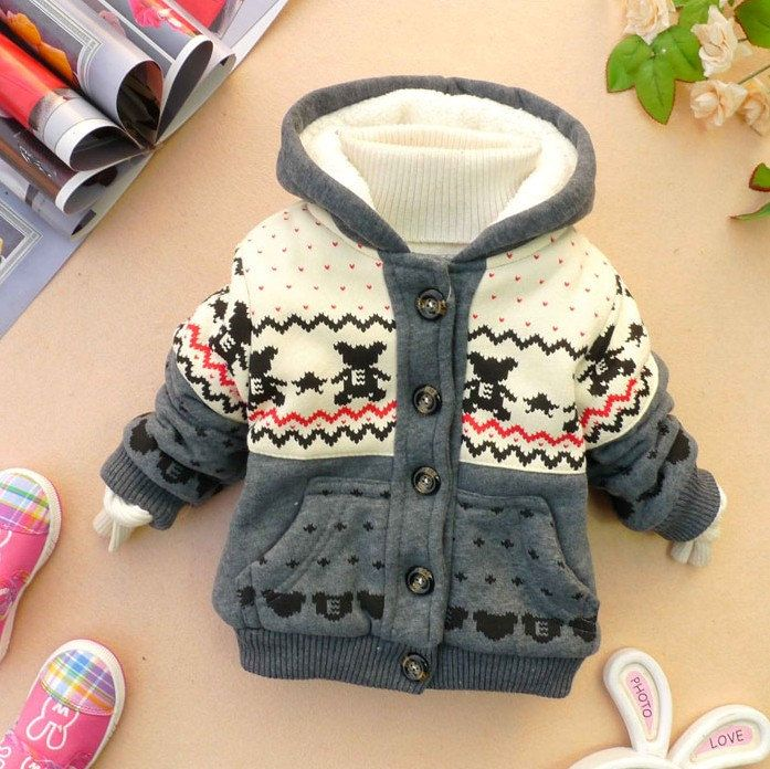 NEW YEAR CHRISTMAS baby boy girl clothes winter coat kid grey baby dress 9m-3y. $20.99, via Etsy.