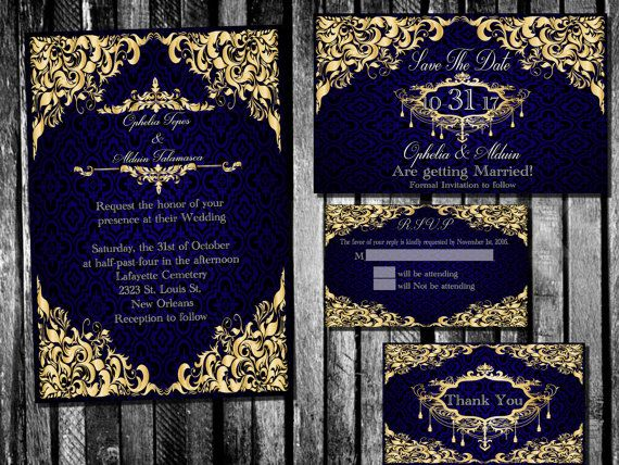 Elegant Royal Blue And Gold Wedding Invitation Save By PandorasArt