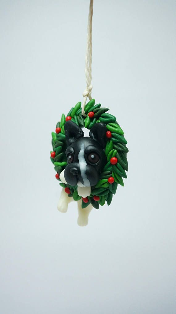 Christmas ornament, Xmas wreath, French Bulldog ornament clay miniature, Dog breed clay figure, custom dogs ornament, handmade clay pet