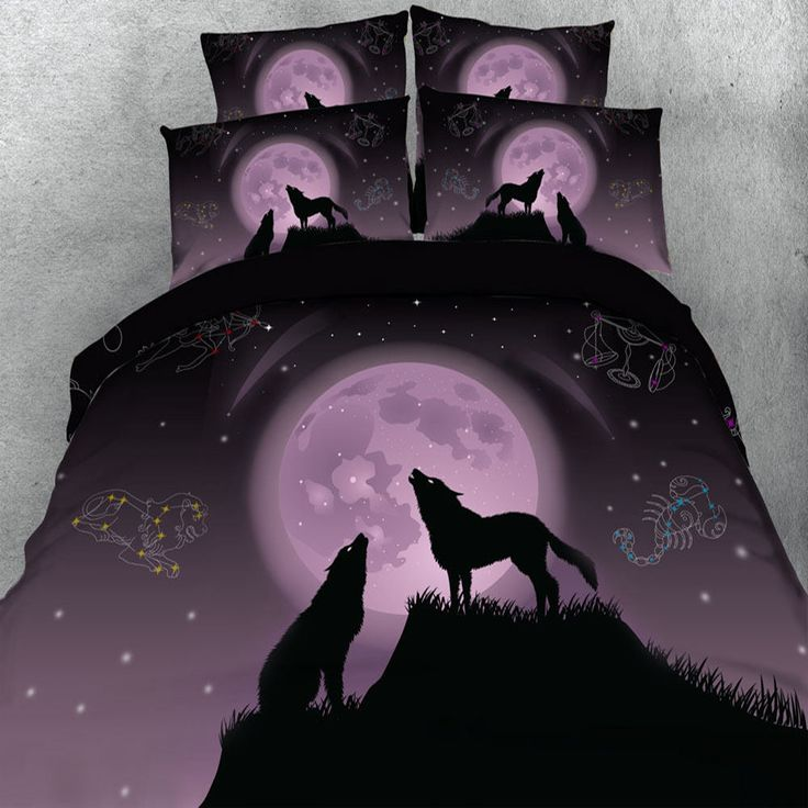Sexy Purple 3D Wolf Printing Bedding Sets Duvet Cover Adult/Girls 3/4 Pieces 500TC Bedlinen Single Queen Super King Pillowcase  #Affiliate