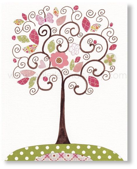 Tree nursery art - baby nursery decor - kids room decor girl - pink and green decoration - Can be customized by adding a child's name