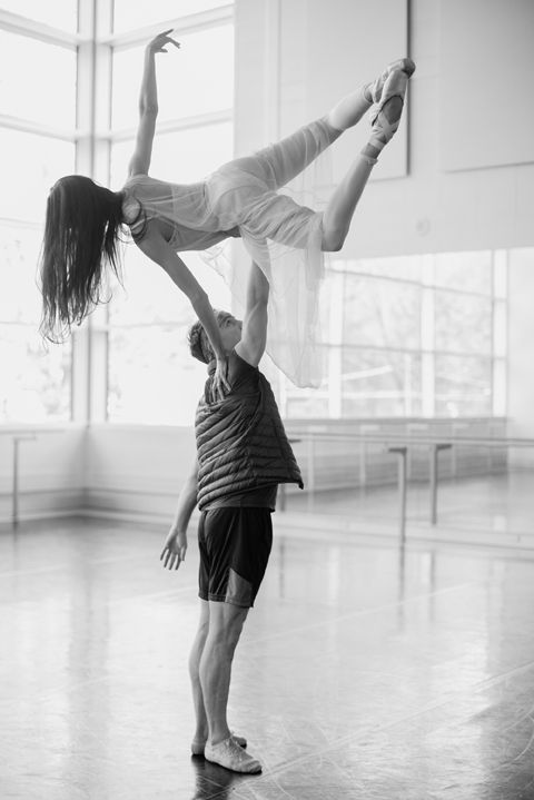 Complicated lift with First Soloist Tanya Howard and Dylan Tedaldi during rehearsal for Le Petit Prince. Photo by Karolina Kuras.