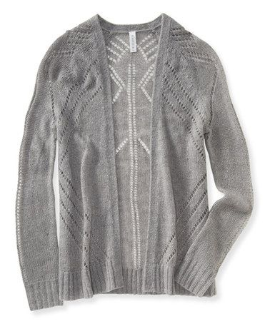Love this Light Heather Gray Pointelle Open Cardigan by Aéropostale on #zulily! #zulilyfinds