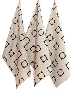 Hand Block Printed Tea Towel Black  Squared - 100% unbleached natural linen with red accent embroidery. $38.50. contemporary - dishtowels - by BZDesign
