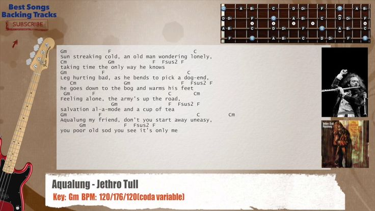Aqualung - Jethro Tull Bass Backing Track with chords and lyrics
