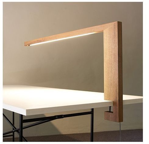 Desk lamp, insert a block of channel iron into the clamp cut-out for strength in tightening.
