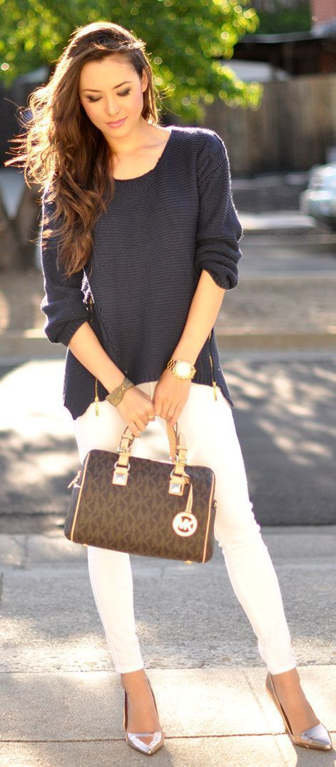 Knit sweater with white pants and handbag. | Office Style
