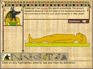 Gli Egizi: la preparazione di una mummia in un'animazione interattiva