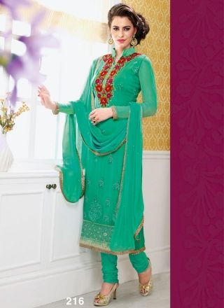 Elite Turquoise Designer Long Churidar Suit http://www.angelnx.com/Salwar-Kameez