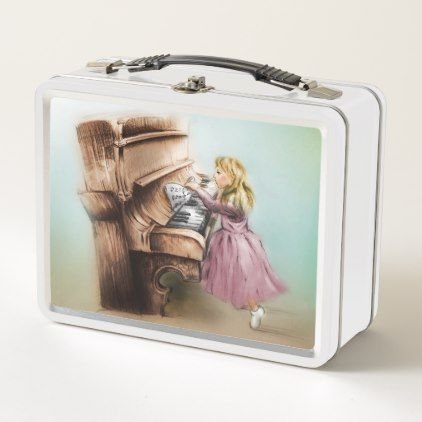 Orignal vintage art metal lunch box - Piano Girl - metal style gift ideas unique diy personalize