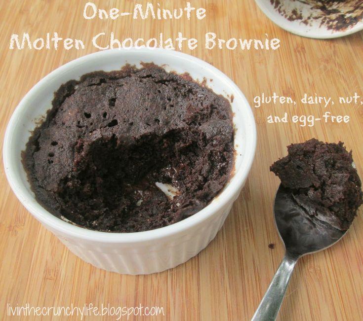 One Minute Molten Chocolate Brownie (gluten/dairy/egg/nut free)  #justeatrealfood #livinthecrunchylife