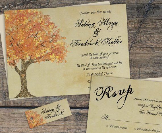 Rustic Fall Wedding Invitation Suite, Autumn Barn Wedding Invitation, Country Wedding Invitation, Printable Fall Tree Wedding Invite, DIY by X3designs $45.00