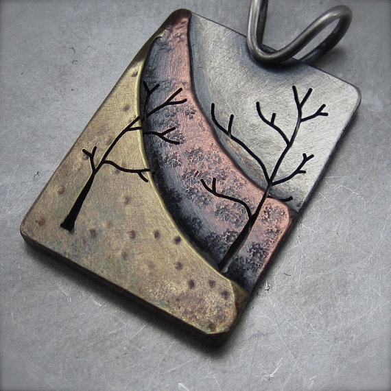 Mixed Metal Nothern Slope Pendant by BethMillner on Etsy, $210.00