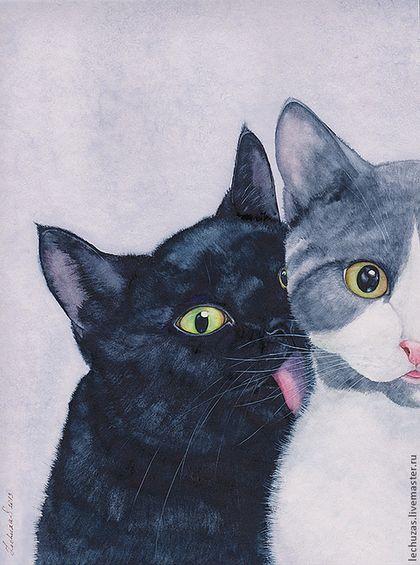 """Купить Акварель """"Кошки. Это любовь?!"""" - акварель, Кошки, любовь, нежность…"""