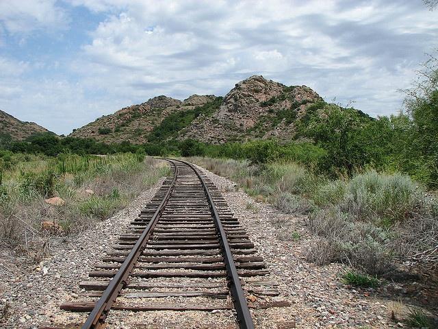 Altus, Oklahoma    Rail road going through the Quartz Mountains at the south end of lake Altus