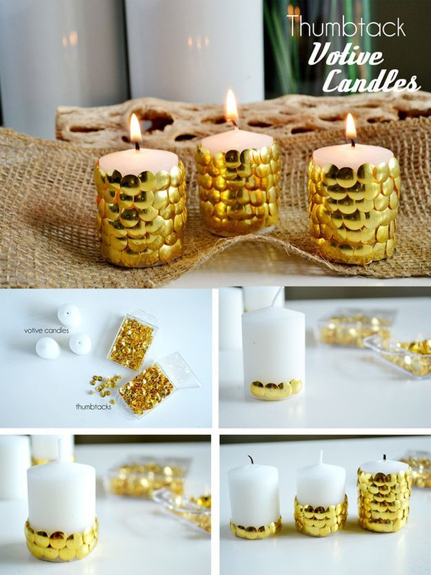 Thumbtack Candles | 28 Insanely Easy Christmas Decorations To Make In A Pinch