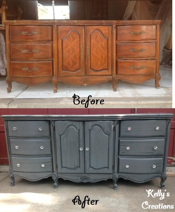 Antique tin (paint color) French Provincial buffet with black antiquing and  crystal knobs before - 22 Best French Provencal Furniture Images On Pinterest DIY