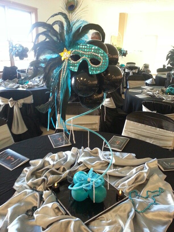 Masquerade theme centerpiece inspired by Nadia Azar.