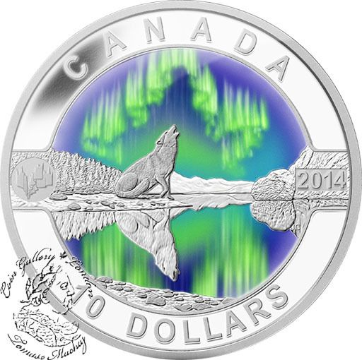 Coin Gallery London Store - Canada: 2014 $10 O Canada Northern Lights Howling Wolf Coloured Silver Coin, $54.95