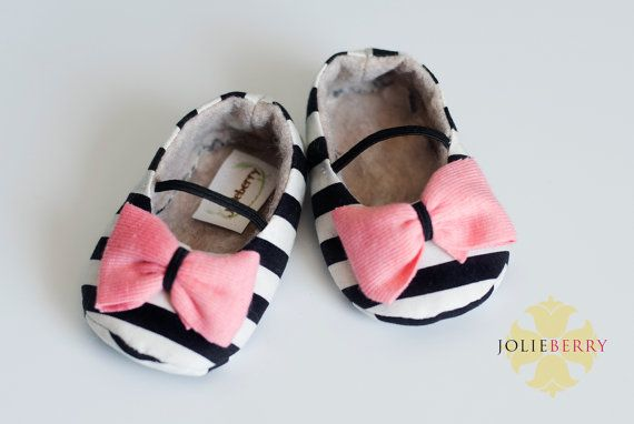 MAYA baby girl shoe. Cream Black stripe. Pink bow by HarperDaisy, $27.95