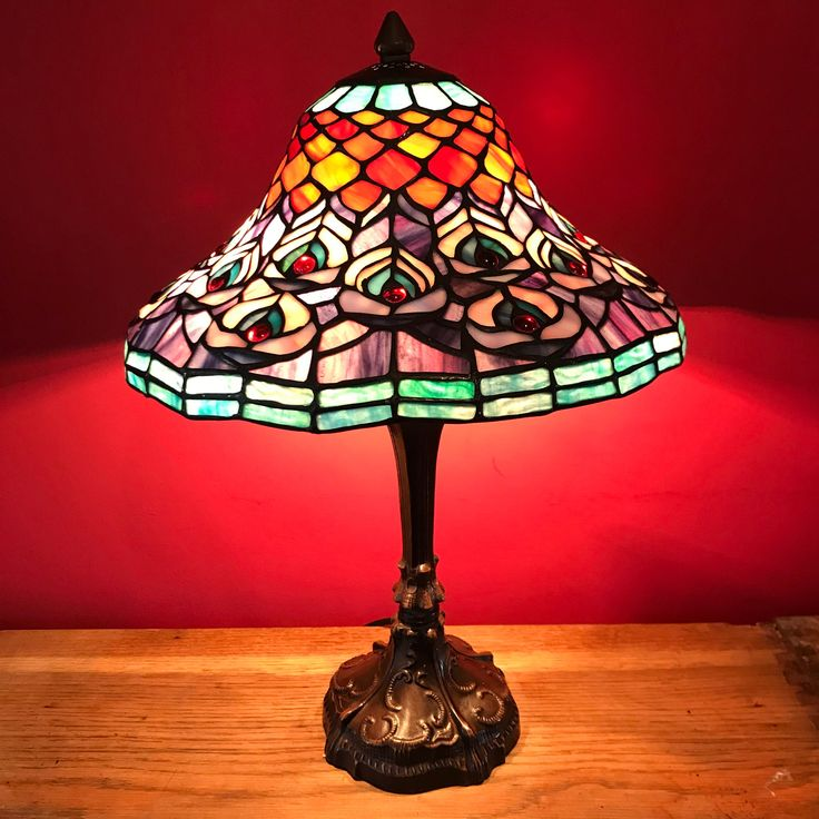 Stained Glass Table Lamp, Tiffany Style, Floral Art