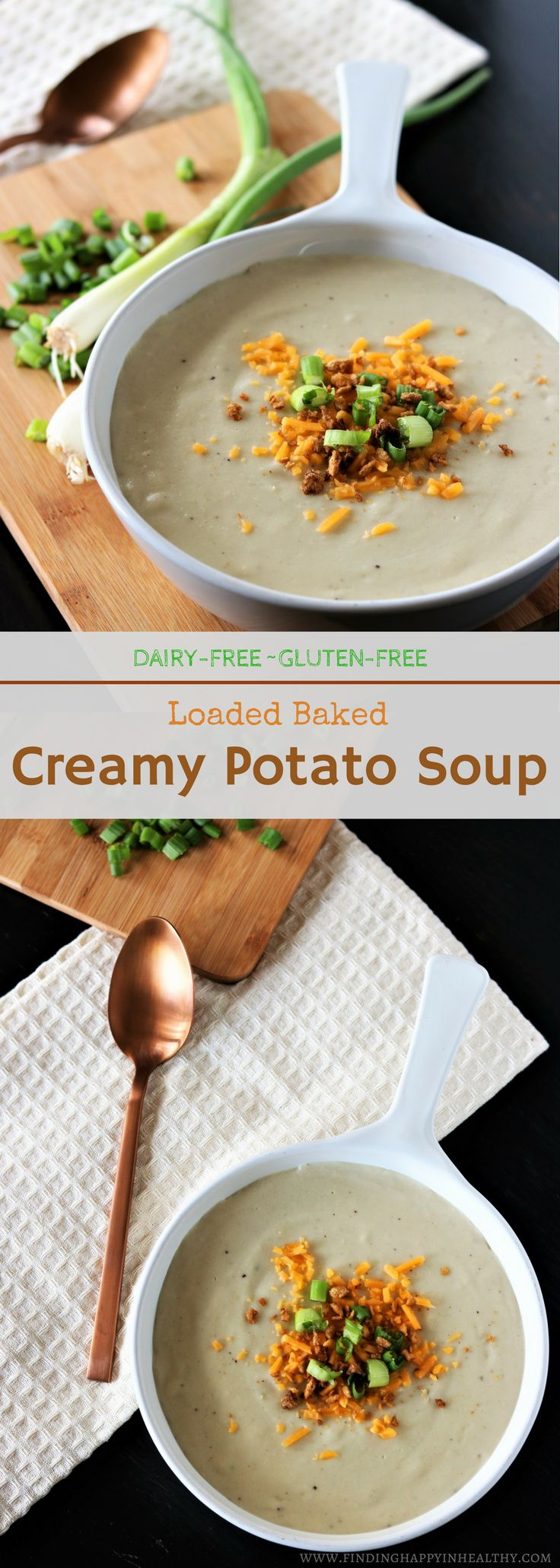A delicious, dairy-free, gluten-free creamy loaded Baked Potato Soup.
