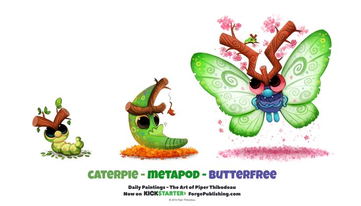 Daily 1325. Caterpie/ Metapod/ Butterfree by Cryptid-Creations on DeviantArt