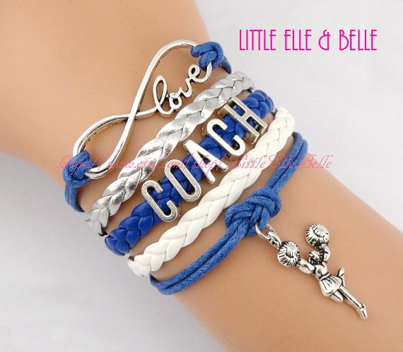 Infinity Wish Charm Bracelet, Love, Coach, Megaphone, Cheer, Cheerleading, Cheerleader, Royal Blue, White, Christmas Gift, Friendship Gift on Etsy, $6.59