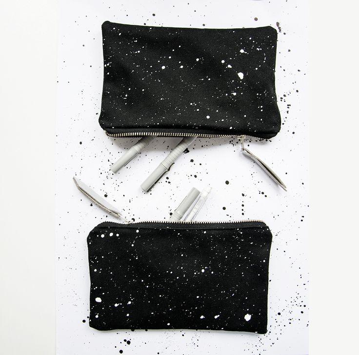 Black hand painted travel mini bag, #stars #pattern #nightsky #cosmic #umi #umination