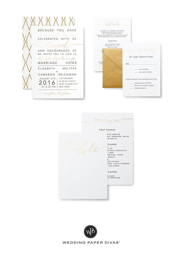 Love is in the minimalist details. From the foil-stamped calligraphy to the clean white design,  we love everything about this modern wedding suite.