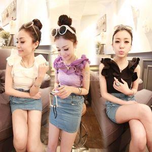 Korea Women Flower Collar Elegant Chiffon Vest Tops 3Colors