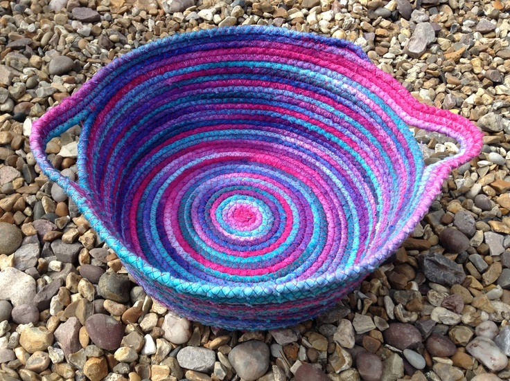 Dip-Dyed Coiled Fabric Bowl by Carol Robinson