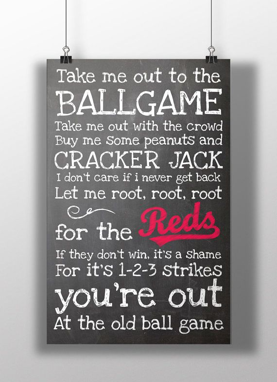 Cincinnati Reds Take Me Out to the Ballgame by BigLeaguePrints, $12.00