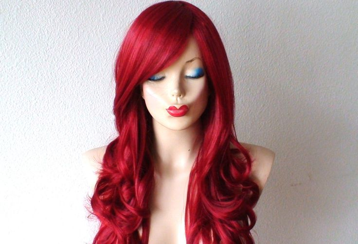 Wine red wig. Long red hair wig. Deep Red long curly hairstyle wig. Durable Heat resistant synthetic wig for daily use or Cosplay. by kekeshop on Etsy https://www.etsy.com/listing/204346001/wine-red-wig-long-red-hair-wig-deep-red